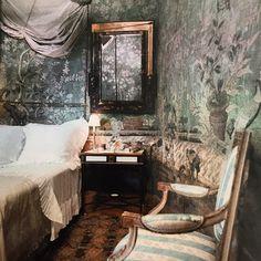 The lesser known shot of Pauline de Rothschild's Paris bedroom, lined in the most beautiful 18th century Chinese wallpaper  #lestylepauline #paulinederothschild #paris  #apartment #style #elegance #elegant #chic #taste #1960s #france #french #frenchstyle #18thcentury #18thcenturystyle #chinese #wallpaper #blue #green #interiors #interiorinspiration #bedroom #horst #horstphorst #horstphotography #worldofinteriors #vogue #usvogue
