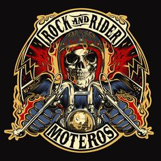 rock_and_rider_def_color.png by David Vicente Logo Harley Davidson, Harley Davidson Kunst, Harley Davidson Motorcycles, Bobber, Motorcycle Logo, Portfolio Logo, Cycling Art, Bike Art, Skull And Bones