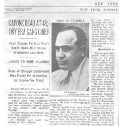 In severe decline from syphilis he had contracted when he was a much younger man, by 1946, Al Capone was reduced to the mentality of a 12-year-old child, according to his doctor, and would rant about Bugs Moran, Communists and immigrants. He had a stroke on January 21, 1947, and died from cardiac arrest four days later.