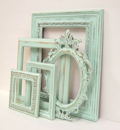 Shabby Chic Frames Pastel Mint Green Picture Frame Set Ornate Vintage Frames Wedding Shabby Chic Home Decor. $86.00, via Etsy.