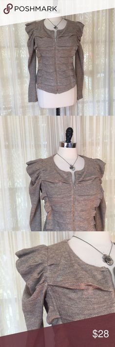 ModCloth pleated puff sleeve steampunk cardigan Size small. A'reve Zip front. Viscose, polyester. EUC  Fast 1-2 day shipping Reasonable offers accepted Purchase 3 or more items & get a special bundle rate!  Smoke-free home ModCloth Sweaters Cardigans