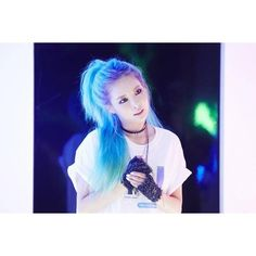 HyunA stuns with her blue hair and shows off a couple look with Ilhoon... ❤ liked on Polyvore featuring hair
