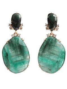 FEDERICA RETTORE - Emerald drop earrings.
