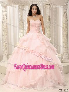 8cfb9597d70 Charming Ruched and Beaded Baby Pink Dress for Quinceanera with Flowers  Prom Dress 2014