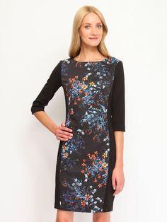 sukienka damska w kwiaty granatowa - SSU1427 TOP SECRET