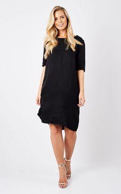 Black Mid Sleeve Dress - SilkFred
