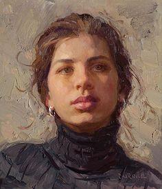 """Megan"" - Scott Burdick (b.1967), oil on canvas, 2008 {figurative #impressionist art beautiful female head woman face portrait painting #loveart #2good2btrue} Beautiful!! <3 scottburdick.com"