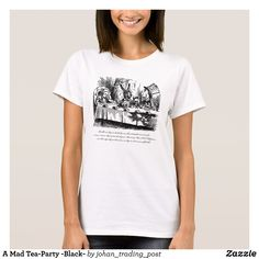 A Mad Tea-Party - Black- T-Shirt - Fashionable Women's Shirts By Creative Talented Graphic Designers - #shirts #tshirts #fashion #apparel #clothes #clothing #design #designer #fashiondesigner #style #trends #bargain #sale #shopping - Comfy casual and loose fitting long-sleeve heavyweight shirt is stylish and warm addition to anyone's wardrobe - This design is made from 6.0 oz pre-shrunk 100% cotton it wears well on anyone - The garment is double-needle stitched at the bottom and sleeve hems…