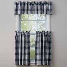 This Slate Dylan Curtain Valance measures 72 x 14 from Park Designs. Check out all of the Dylan Slate collection of table top and window curtain Porch Curtains, Plaid Curtains, Tier Curtains, Cafe Curtains, Valance Curtains, Window Cornices, Entry Hallway, Living Room Shop, Parking Design