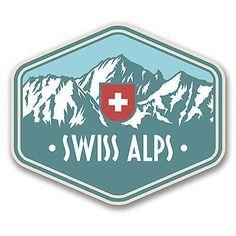 2 x Swiss Alps Switzerland Vinyl Sticker Travel Luggage Mountains Ski Switzerland Flag, Travel Stamp, Luggage Stickers, France Flag, Car Bumper Stickers, Badge Design, Zermatt, Swiss Alps, Snowboards