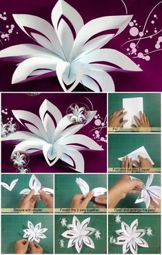 DIY Layered Paper Flower Cutting and Folding Tutorial.Easy to learn how to make these whimsical paper flowers. DIY Layered Paper Flower Cutting and Folding Tutorial.Easy to learn how to make these whimsical paper flowers. Paper Flowers Craft, Large Paper Flowers, Paper Flower Backdrop, Flower Crafts, Diy Flowers, How To Make Paper Flowers, Simple Paper Flower, Paper Flower Patterns, Paper Flower Centerpieces