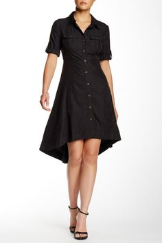 Roll Sleeve Hi-Lo Trapeze Shirt Dress by ECI on @nordstrom_rack