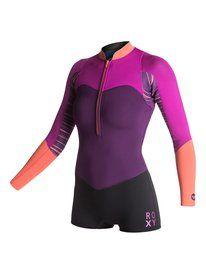 roxy, XY collection 2 mm long sleeve Springsuit, Purple/Purple/Orange (xppn)