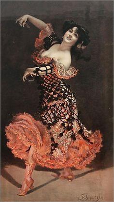 The flamenco dancer by Leopold Schmutzler, (Austrian 1864-1941)