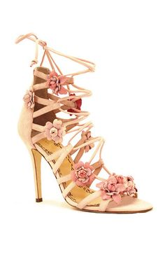 On SALE at OFF! Gianna Floral Sandal by Marchesa. This *Marchesa* sandal is rendered in suede and features a lace up silhouette. Floral Sandals, Pink Sandals, Pink Heels, Lace Up Sandals, Lace Up Heels, Suede Sandals, Shoes Sandals, Heeled Sandals, Pink Suede Shoes
