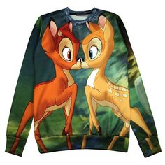 Green Cute Womens Bambi Crew Neck Pullover Printed Sweatshirt (€17) ❤ liked on Polyvore featuring tops, hoodies, sweatshirts, shirts, sweaters, disney, green, shirt tops, crew shirt and green pullover