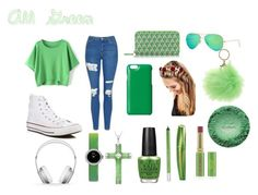 """All Green"" by cclevenger ❤ liked on Polyvore featuring Topshop, Converse, Lancaster, Ray-Ban, Knomo, Johnny Loves Rosie, Forever 21, Beats by Dr. Dre, Christian Dior and OPI"
