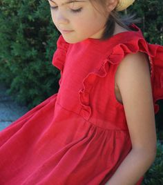 Colombine rouge - p&m addicts Peplum, Ruffle Blouse, Sewing For Kids, Sewing Clothes, Inspiration, Tops, Change, Women, Fashion