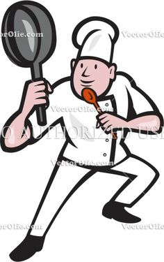 baker, cartoon, chef, cook, cooking, fighting stance, frying pan, hat, illustration, isolated, kung fu, male, man, pan, woodcut, worker