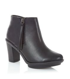 Black Zip Heel Ankle Boots
