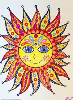 Whimsical art by Thaneeya McArdle: Paintings and drawings of cute colorful fairies, aliens, cats, dogs, people and more! Sun Coloring Pages, Coloring Books, Sun Painting, Painting & Drawing, Pictures Of The Sun, Sun Pics, Good Day Sunshine, Sun Art, Sun Clip Art