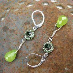 Lime Jade Petal Drop Earrings  Swarovski by PETALTOMETALJEWELS, $27.00