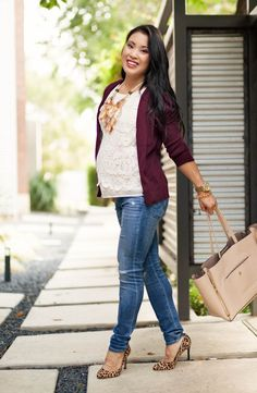 cute & little blog | petite fashion | burgundy cardigan, lace shell, maternity distressed jeans, leopard pumps, statement necklace | pregnant baby bump maternity | second trimester 23 weeks