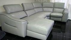 Designer Grey leather reclining 4 piece corner lounger (37) £1299