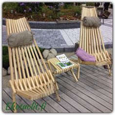 EcoChair and Lilli-table LARCH, by nature protecting itself in outdoor use (natural)