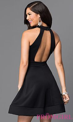 Short Black Open Back A-Line Homecoming Dress at PromGirl.com