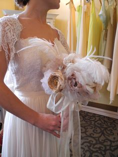 Handmade Fabric Bouquet with feathers  Rice Rafferty Accessories  Anatomy Wedding Gown