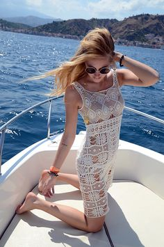 Boat trip in crochet dress (by Chiara Ferragni) http://lookbook.nu/look/2231269-Boat-trip-in-crochet-dress