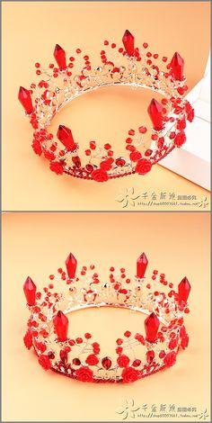 Дочь невесты красное платье круглый колонке кристалл барокко Королева Корона ручной бисером ювелирные изделия волос короны - Taobao