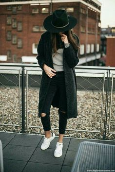 9a11485634 Ripped Jeans & Stan Smith (The fashion cuisine) Ripped jeans, wide brim  hat, adidas winter outfit. Shoes 202