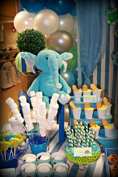 What a cute elephant party for a 1st birthday! See more party ideas at CatchMyParty.com!