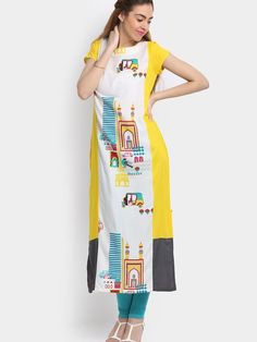 yellow & white printed round neck cotton kurti