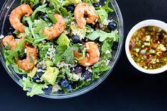 Spicy Shrimp Arugula Salad with Blueberries