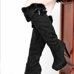 : Newest Bow Love-High Heels Boots (black,brown)