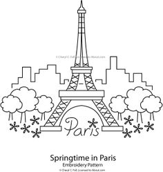 Embroidery Designs Eiffel Tower - Springtime in Paris Pattern - Stitch your way into a new season with these fun and fresh spring hand embroidery patterns. Embroidery Designs, Floral Embroidery Patterns, Hand Embroidery Stitches, Crewel Embroidery, Vintage Embroidery, Cross Stitch Embroidery, Machine Embroidery, Embroidered Flowers, Flower Embroidery