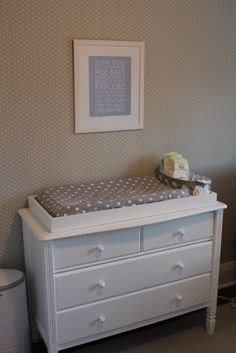 Dresser and grey and white polka dot change mat cover Nursery Grey, Elephants, Grey And White, Dresser, Polka Dots, Change, Cover, Table, Furniture