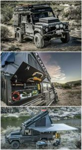 Land Rover Defender Icarus - The Land Rover Defender Icarus is a death-proof custom camper conversion created by South African adventure customizer Alu-Cab. The Icarus features a built-in rooftop tent (Tent Camping Hacks) - TechLeon - Landrover Defender, Defender Camper, Land Rover Defender Camping, Landrover Camper, Land Rovers, Camping Car Van, Tent Camping, Camping Gear, Camping Hacks