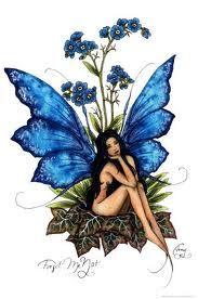 Amy Brown Fairy Art Postcard Forget Me Not Blue Fairy Elfen Fantasy, Fantasy Art, Elfen Tattoo, Amy Brown Fairies, Dark Fairies, Fairy Drawings, Fairy Wings Drawing, Fairy Tattoo Designs, Fairy Pictures