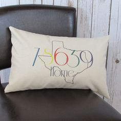 Personalized pillow, state and zip code, housewarming, wedding gift, custom gift, retirement, Home
