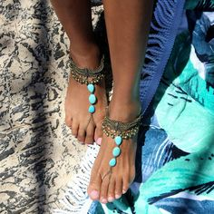 Turquoise Barefoot Sandals With Gold Anklets for Boho Brides and Beach... ($62) ❤ liked on Polyvore featuring shoes, sandals, barefoot sandals, grey, women's shoes, bohemian sandals, bridal shoes, gold anklet, toe loop sandals and bridal beach sandals