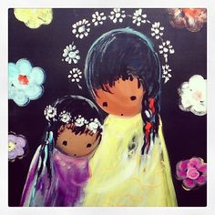 """DeGrazia's """"Untitled-Two Girls"""", 1962, oil on sheet metal. This image will be featured in our 2014 calendars."""