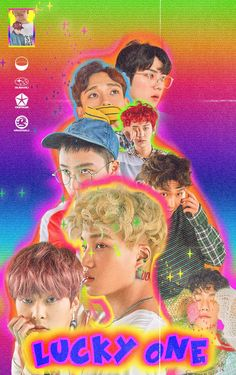 """EXO album cover """"lucky one"""" Retro Graphic Design, Graphic Design Posters, Graphic Design Inspiration, 80s Posters, Kpop Posters, Vaporwave, Poster On, Poster Prints, Wall Prints"""