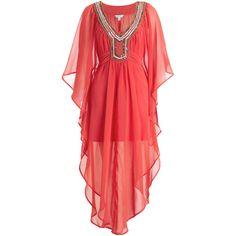 Monsoon Acacia Maxi Kaftan ($94) ❤ liked on Polyvore featuring dresses, caftan dress, cocktail dresses, holiday dresses, red maxi dress and red holiday dress