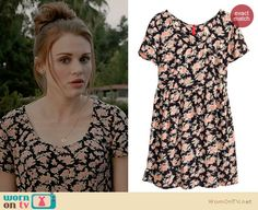 Lydia's black floral dress on Teen Wolf.  Outfit Details: http://wornontv.net/34321/ #TeenWolf