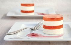 Vanilla Panna Cotta layered with Pink Champagne Jelly and rose petal jam