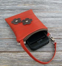 RESERVED Leather iPhone or Gadget Case Wristlet by studiocatb